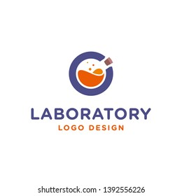 Negative space glassware laboratory in  monogram C for science logo design