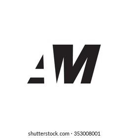 AM negative space letter logo