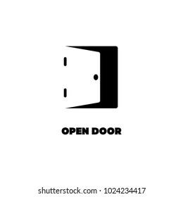 Negative space logo of open door. Black silhouette logotype