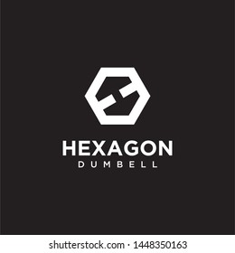 Negative space logo that represent the dumbel, hexagon and letter H - vector.