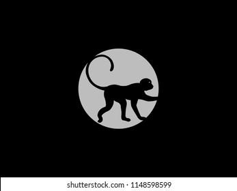 negative space monkey logo for illustration use