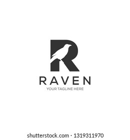 negative space raven / crow in R symbol