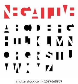 Negative Space Sans Serif Font (Vector Typeface). Uppercase Decorative Typography.