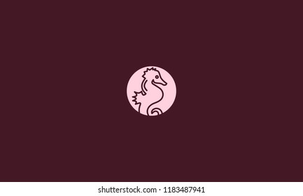 Negative space sea horse vector for illustration
