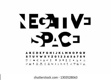 Negative space style font, alphabet letters and numbers vector illustration
