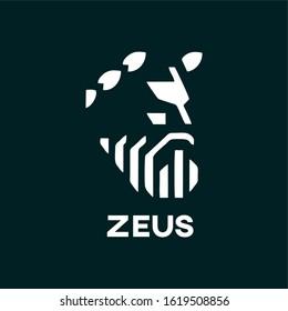 negative space zeus illustration logo