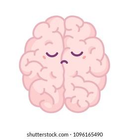 Negative thinking. Sad brain. Vector flat illustration