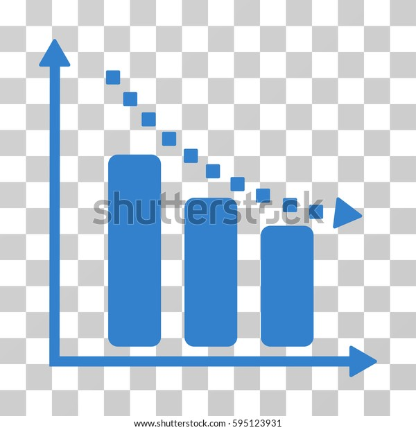 Negative Trend icon. Vector illustration style is flat iconic symbol, cobalt color, transparent background. Designed for web and software interfaces.
