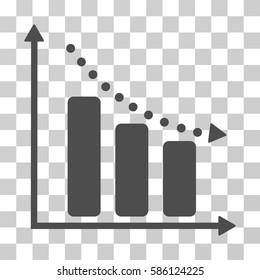 Negative Trend vector pictogram. Illustration style is flat iconic gray symbol on a transparent background.