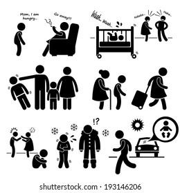 Neglected Child Negligence Abuse Stick Figure Pictogram Icon Cliparts
