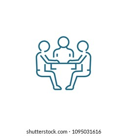 Negotiating table linear icon concept. Negotiating table line vector sign, symbol, illustration.