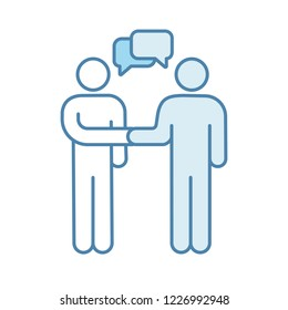 Negotiation color icon. Contacts establishment. Partnership. Business deal. Partners, friends, colleagues greeting. Partnership. Businessmen handshaking. Agreement. Isolated vector illustration