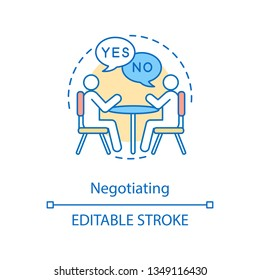 Negotiation concept icon. Agreement reaching. Professional communication. Bargaining. Dialog. Job interview. Discussion idea thin line illustration. Vector isolated outline drawing. Editable stroke