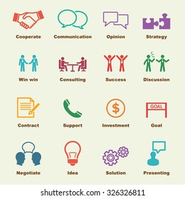 negotiation elements, vector infographic icons