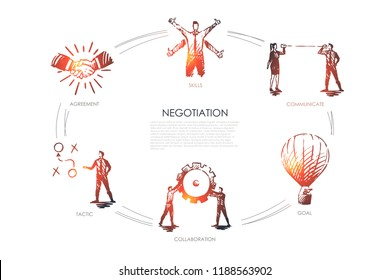 Negotiation - skills, goal, tactic, communicate, collaboration set concept. Hand drawn isolated vector.