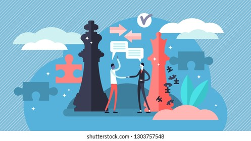 Negotiation vector illustration. Flat tiny persons discussion about rules. Business communication symbol for cooperation, partnership and contract agreement deal. Partner dialogue and collaboration.