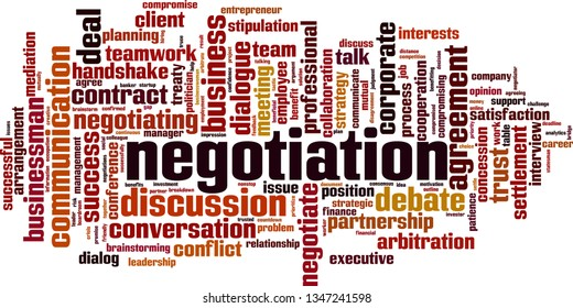 Negotiation word cloud concept. Collage made of words about negotiation. Vector illustration
