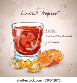 Negroni alcoholic cocktail, consisting of Gin, Campari, red vermouth, ice cubes, orange