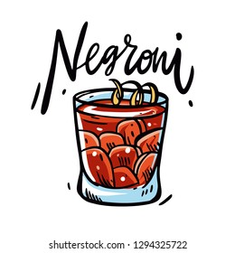 Negroni cocktail hand drawn vector illustration. Cartoon style. Isolated on white background. Design for menu, poster, pin, banner, sticker, logo