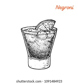 Negroni cocktail illustration. Alcoholic cocktails hand drawn vector illustration. Sketch style.