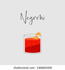 Negroni Cocktail minimal design