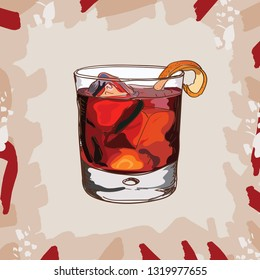 Negroni Contemporary classic cocktail illustration collection. Alcoholic cocktails hand drawn vector illustration set. Menu design item of sketch bar drink glass.