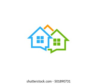 Neighbor Group Chat House Talk Logo Design Template