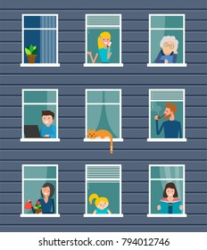 Neighborhood. Building front with windows and people in them. Neighbors people characters, vector illustration.