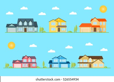 Neighborhood with homes illustrated on the blue background. Vector flat icon suburban american houses day, night. For web design and application interface, also useful for infographics.  Landscape.