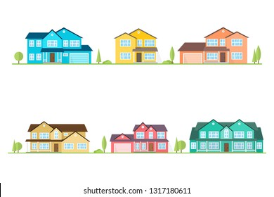 Neighborhood with homes illustrated on white. Vector flat icon suburban american houses. For web design and application interface, also useful for infographics. Vector illustration.