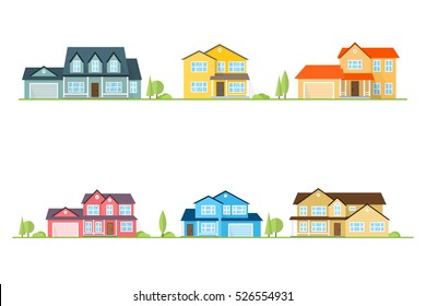 Neighborhood with homes illustrated on white. Vector flat icon suburban american houses. For web design and application interface, also useful for infographics. Vector illustration. Landscape design.