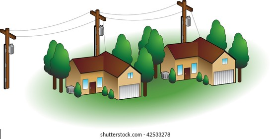 Neighborhood homes isolated on a white background.