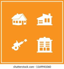 neighborhood icon. 4 neighborhood vector set. cannon and house icons for web and design about neighborhood theme
