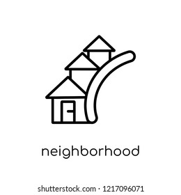 neighborhood icon. Trendy modern flat linear vector neighborhood icon on white background from thin line Real estate collection, outline vector illustration