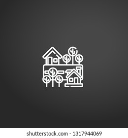 Neighborhood linear vector icon. Modern outline Neighborhood logo concept on grey background from Real State collection. Suitable for use on web apps, mobile apps and print media.