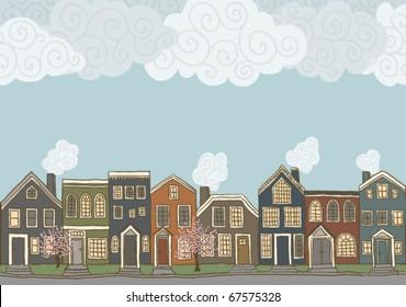 Neighborhood street scene in spring