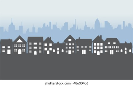 Neighborhood with suburban homes at night