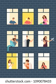 Neighbors cartoon people in apartment house windows. Neighborhood vector concept. Building with window and man, woman illustration
