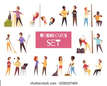 Neighbors cartoon set with friendship and quarrel between adult people living next to each other isolated vector illustration