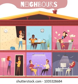 Neighbors living in multistoried city house and irritated because of noise and quarrel cartoon vector illustration