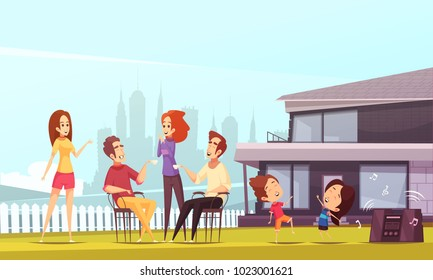 Neighbors party cartoon vector illustration with young happy families and their kids dancing on lawn near modern comfortable cottage
