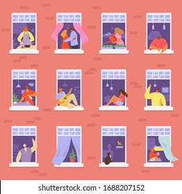Neighbors people in window vector illustration. Cartoon active man woman or couple characters live in neighboring home apartments, building facade with windows. Flat residential house neighborhood set