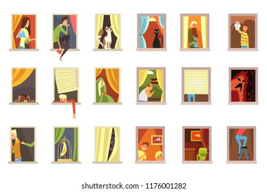 Neighbors people in windows set, different situations in city building windows cartoon vector Illustrations