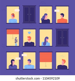Neighbors seen through building windows. flat design style vector graphic illustration set