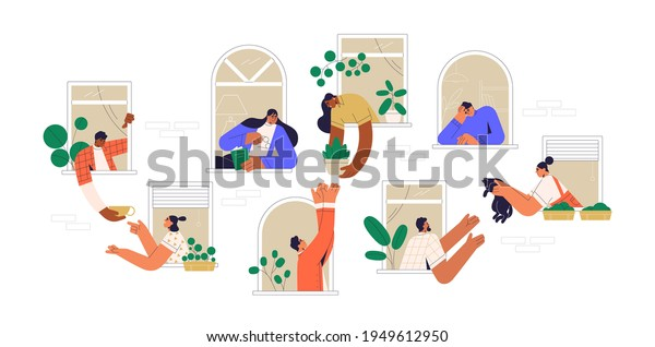 Neighbors sharing things and helping each other through open windows of house. Concept of good neighborhood, people's unity, mutual aid and support. Colored flat vector illustration isolated on white