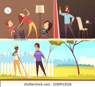 Neighbors talking near fence dancing to loud music and irritated for noise horizontal banners cartoon vector illustration
