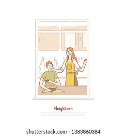Neighbors in window frame, couple having breakfast, man and woman talking in kitchen, mom cooking meal banner