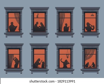 Neighbors in the windows. Cartoon characters in their apartment listen to music, children play and spend time together. Vector. Evening home scene, silhouette or shadow of people in the window
