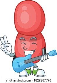 Neisseria gonorrhoeae cartoon character style plays music with a guitar. Vector illustration