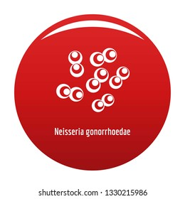 Neisseria gonorrhoedae icon. Simple illustration of neisseria gonorrhoedae vector icon for any design red
